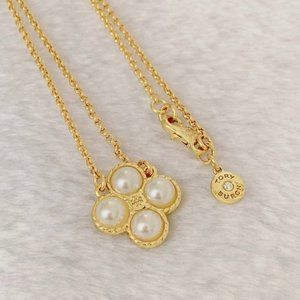 Tory Burch Gold Clover Rope Pearl Logo Necklace